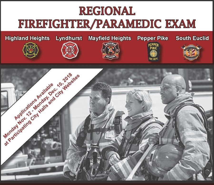 Flyer picturing firefighters that advertises an application link for the Regional Firefighter/Paramedic exam