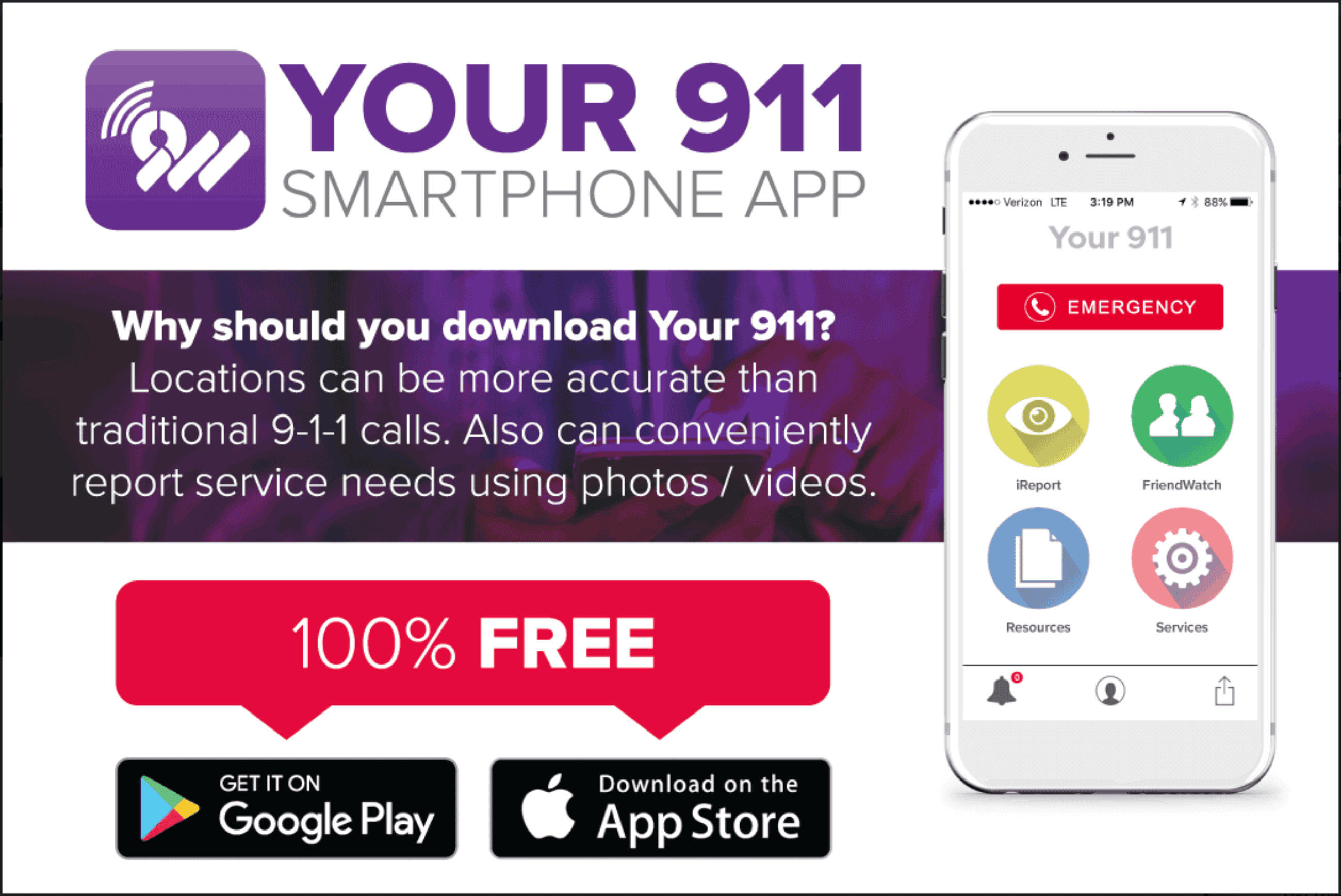 Flyer for Your911 Emergency App