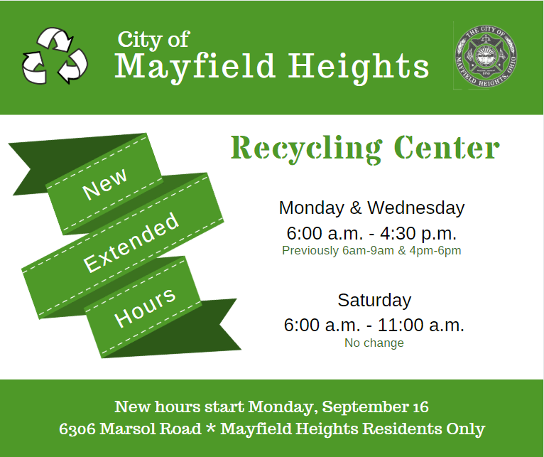 Flyer announcing extended hours for recycling center