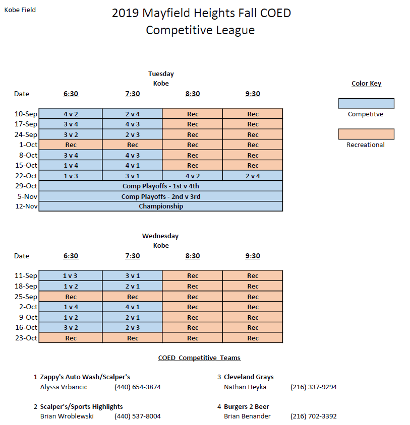 2019 Fall Coed Competitive Schedule