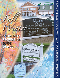 Parks & Rec 2019-2020 Fall Winter Activities Guide (Cover) includes names of all school district com
