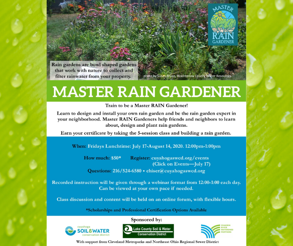 Cuyahoga Soil and Water District flyer announcing their Master Rain Gardener program with a link to