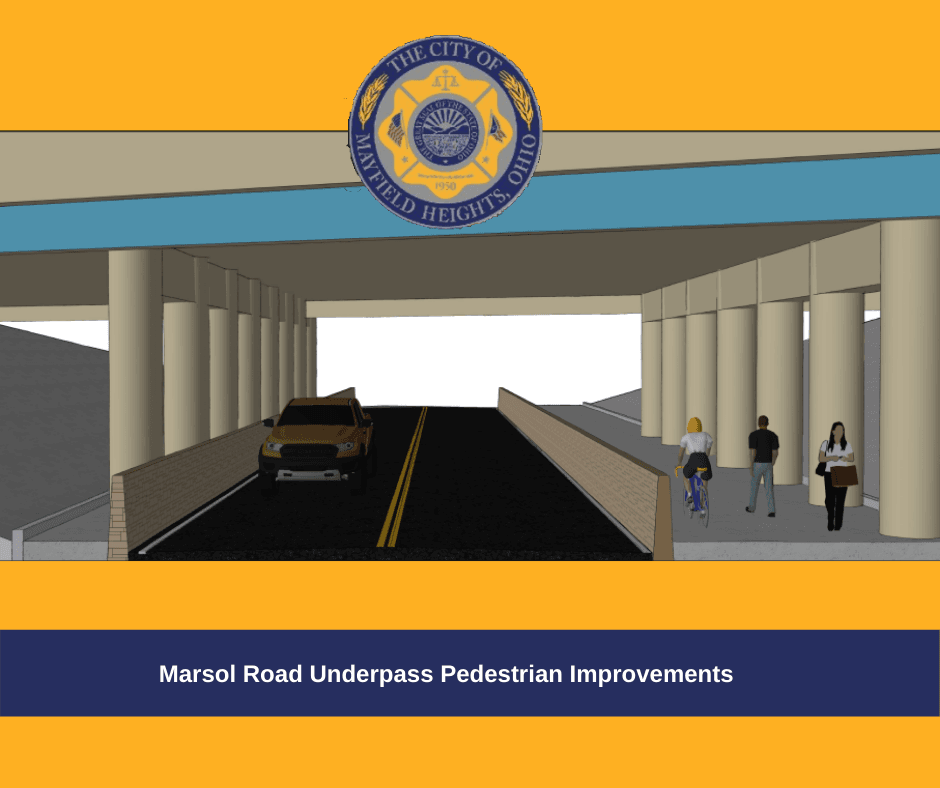 Marsol Road Underpass Pedestrian Improvements drawing showing widened pedestrian walkway