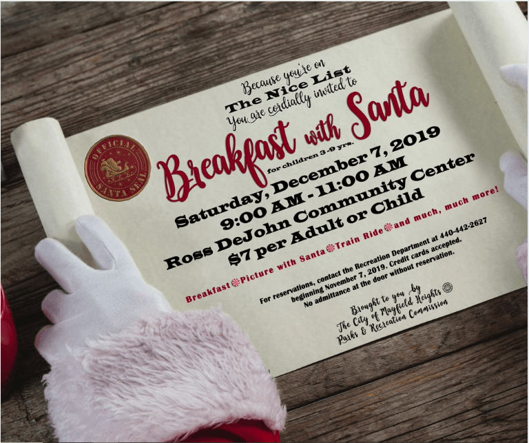 Flyer announcing the Santa Breakfast